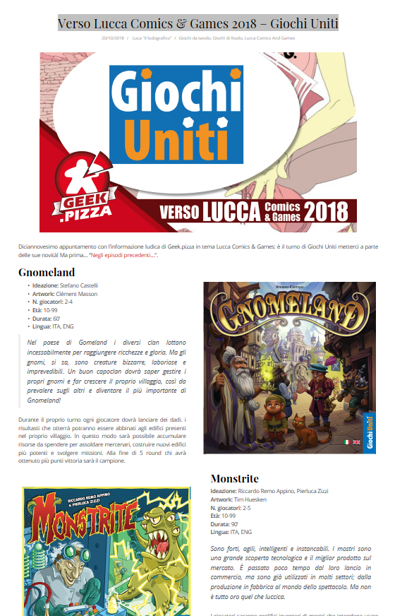 Geek pizza lucca2018