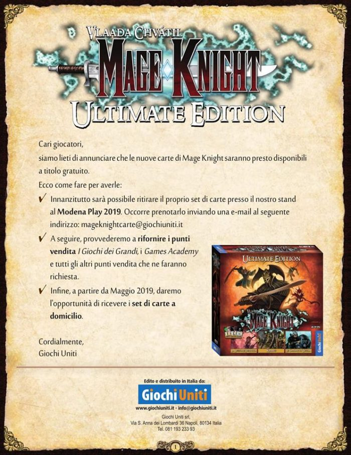 Programma di Distribuzione Carte di Mage Knight Ultimate Edition
