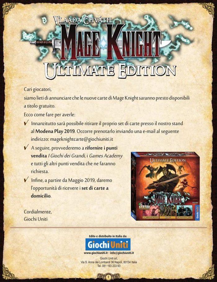 Programma di Distribuzione Carte di Mage Knight Ultimate Edition